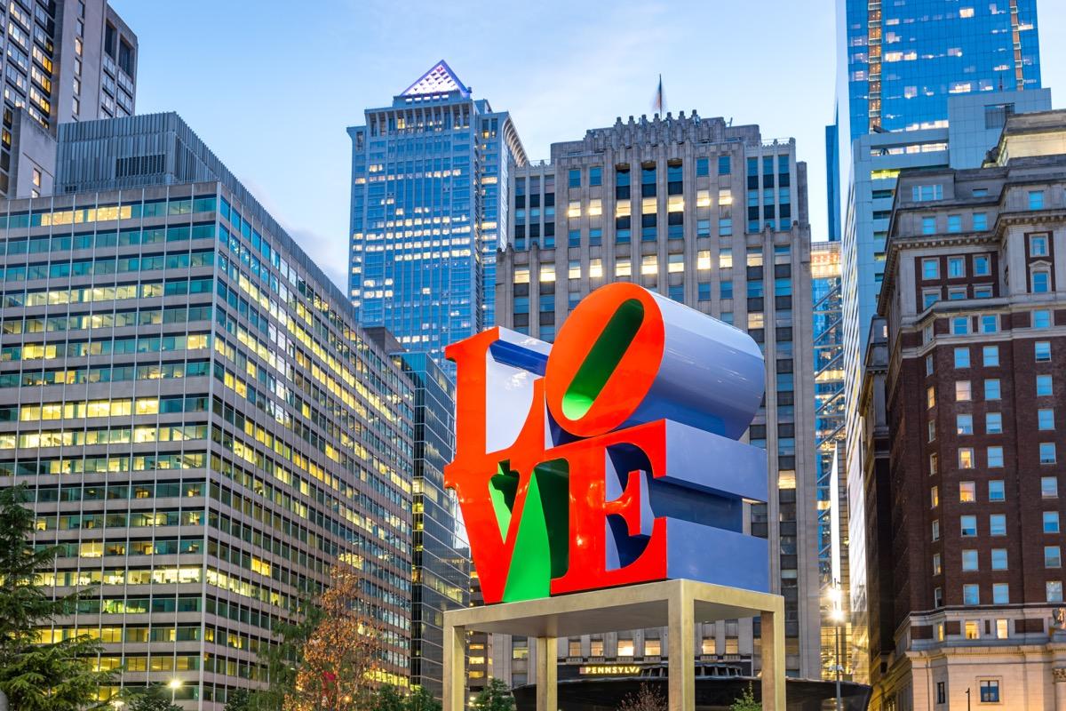 the landmark reproduction of Robert Indiana's Love sculpture located on John F. Kennedy Plaza in downtown Philadelphia, Pennsylvania, USA.