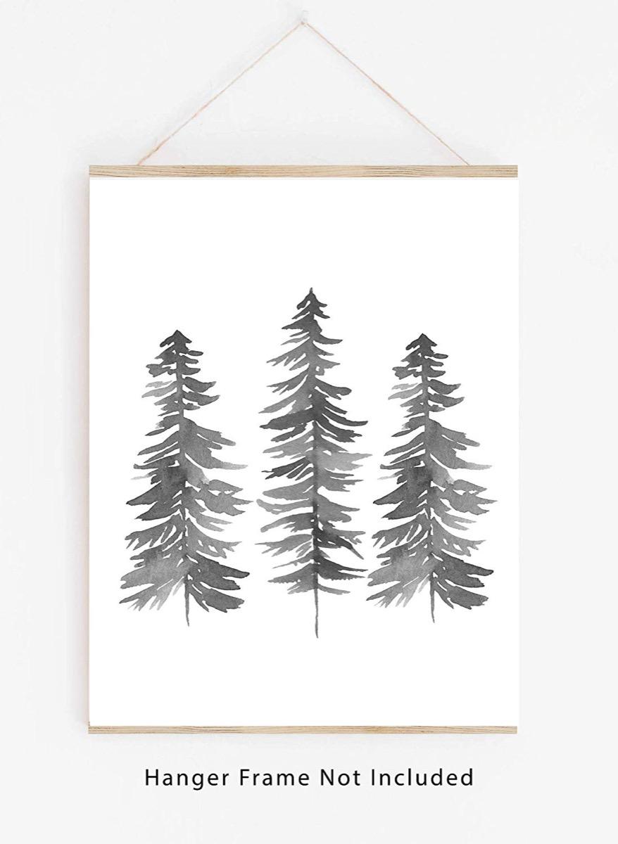 white hanging pine tree print
