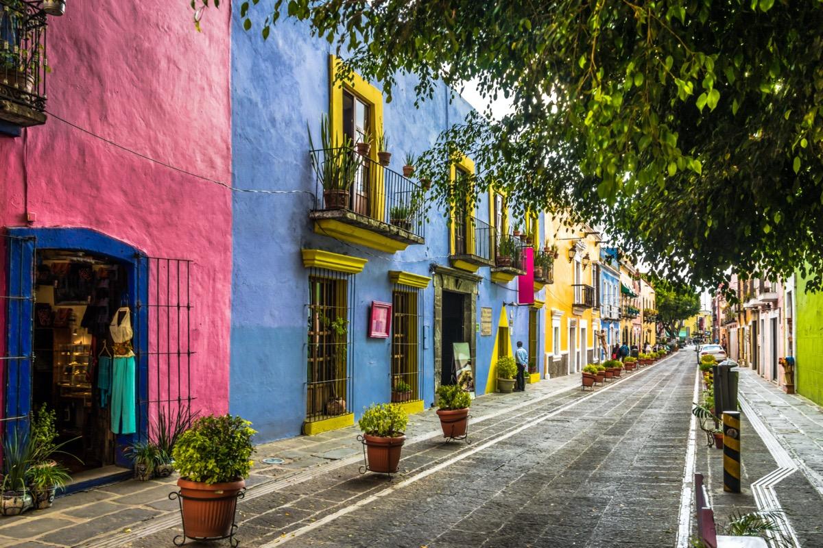pastel color historic houses in puebla mexico