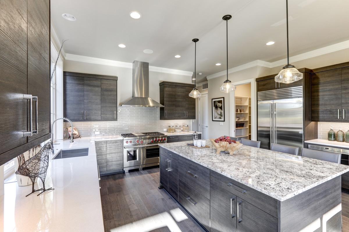 Quartz countertop in a gray kitchen
