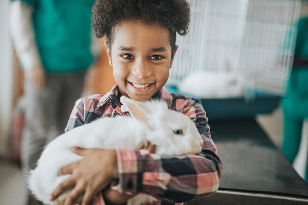 Happy African American girl with her rabbit at veterinarian's looking at camera.