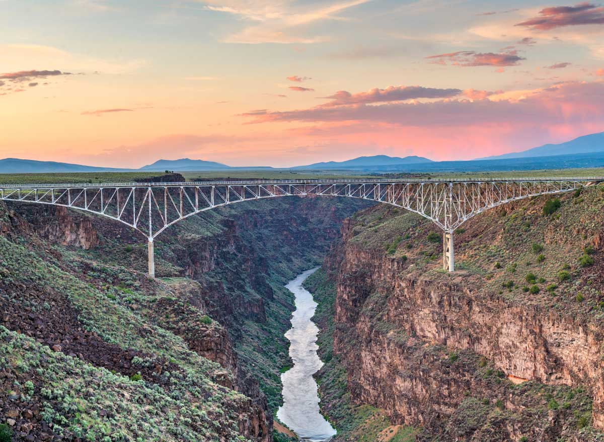 bridge over a gorge with a river