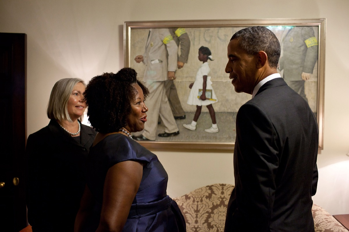 President Barack Obama with Ruby Bridges, who is the little girl portrayed in Normal Rockwell's famous painting, The Problem We All Live With, now on loan to the White House July 15, 2011 in Washington, DC. The painting depicts Ruby as she is escorted to school on the court-ordered first day of in