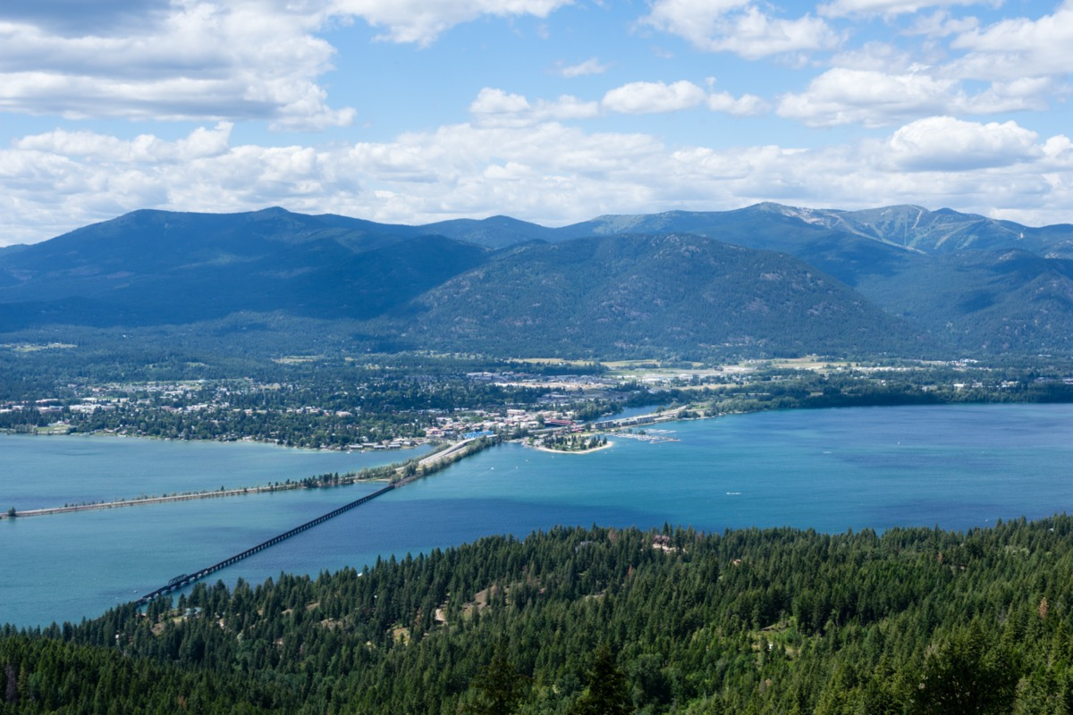 view of lake pend oreille and the town of sandpoint idaho