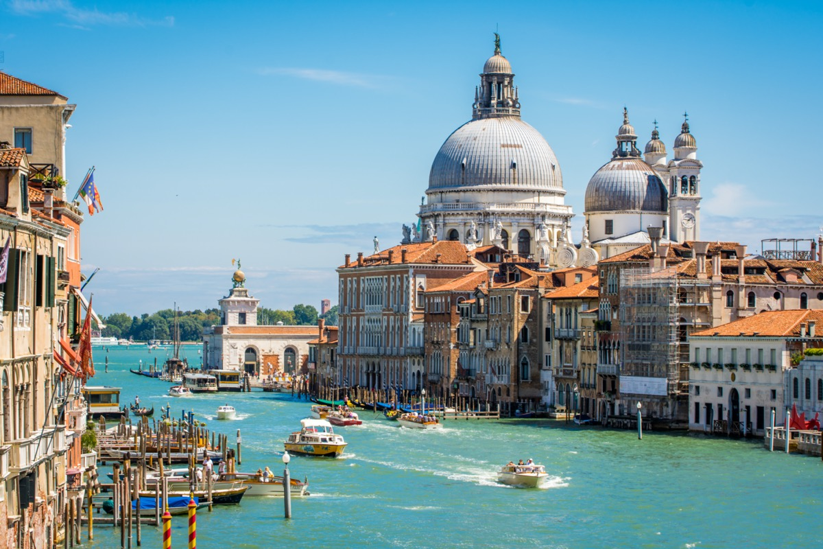 venice italy view of the santa maria basilica from the canal