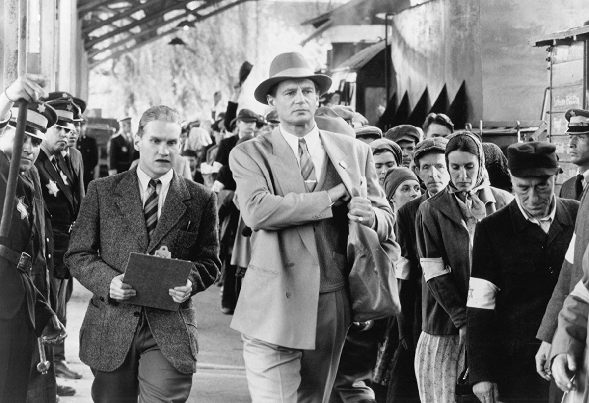 Liam Neeson on the set of Schindler's List