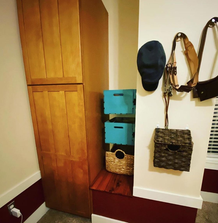 wooden crate sliding shelves