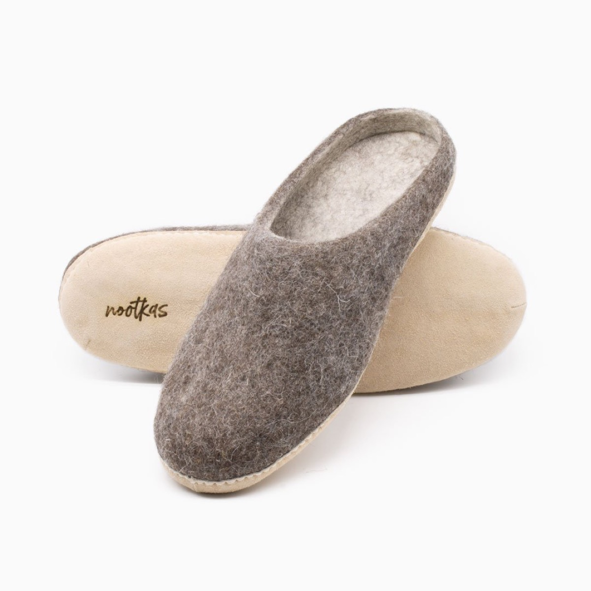 gray wool slippers