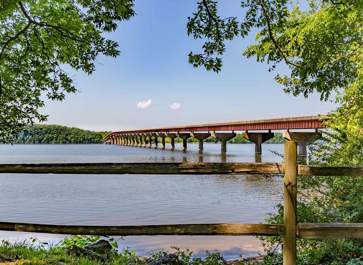 a bridge stretches over a river