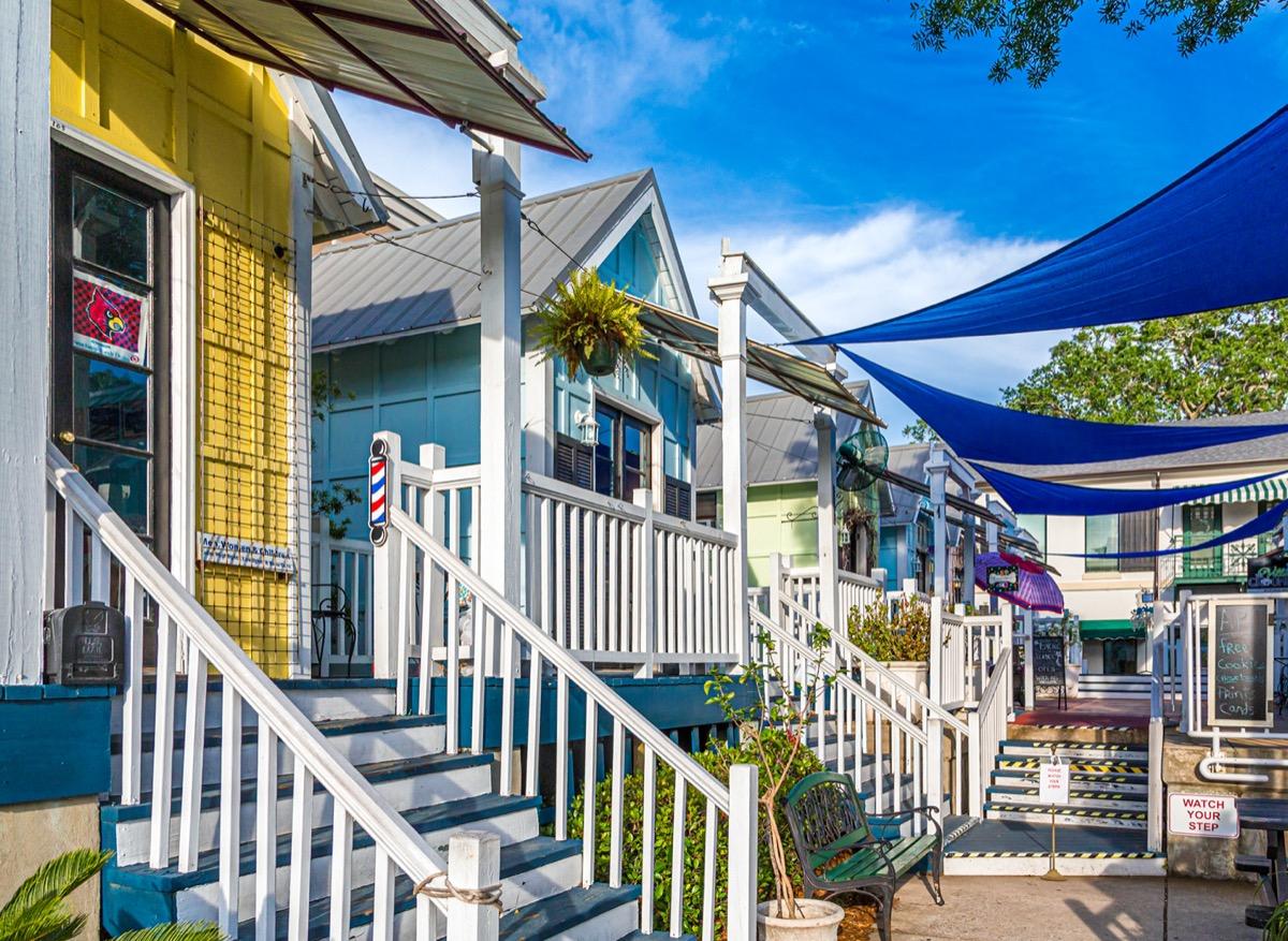 pastel colored houses on st simons island georgia