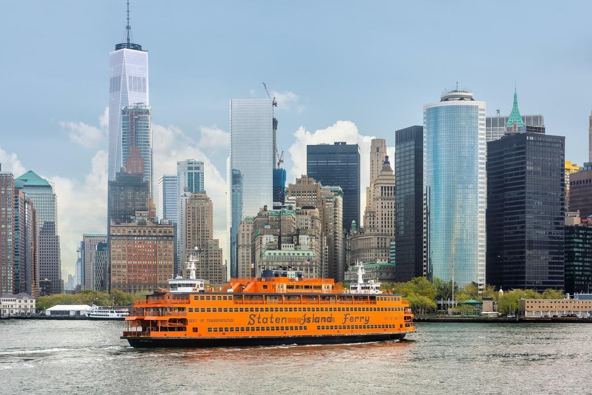 staten island ferry and new york city's skyline