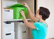 Woman using closet storage
