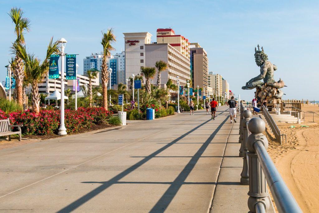 The oceanfront boardwalk and resort area along the Atlantic coast in Virginia Beach