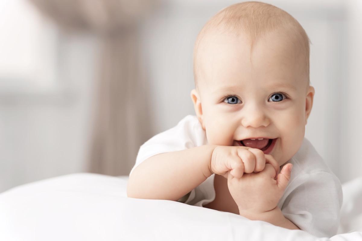 white baby smiling