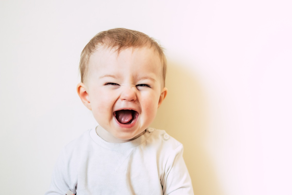 smiling white baby