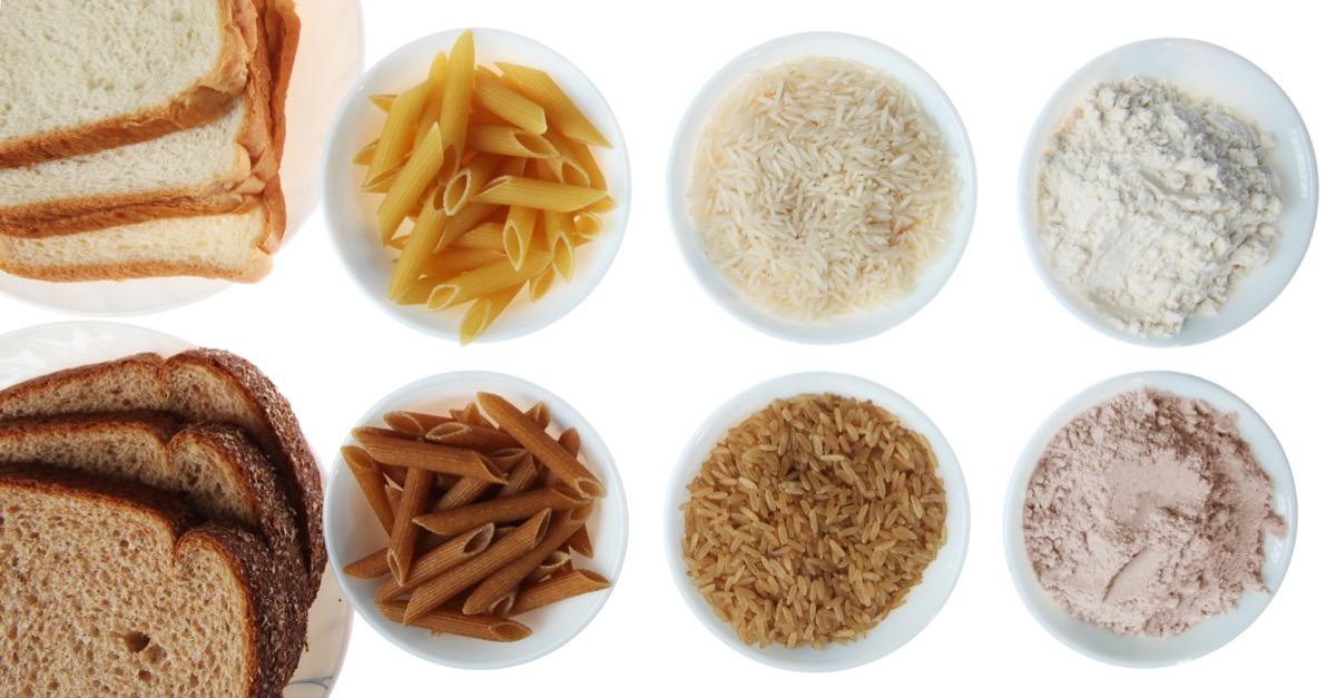 White carbs (bread, pasta, rice, flour) versus whole grains