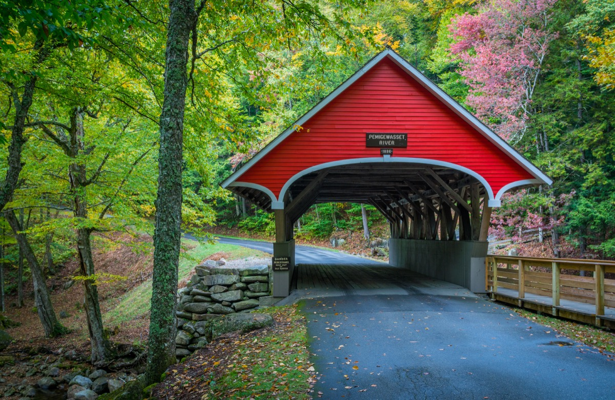 white mountain highway with covered bridge new hampshire