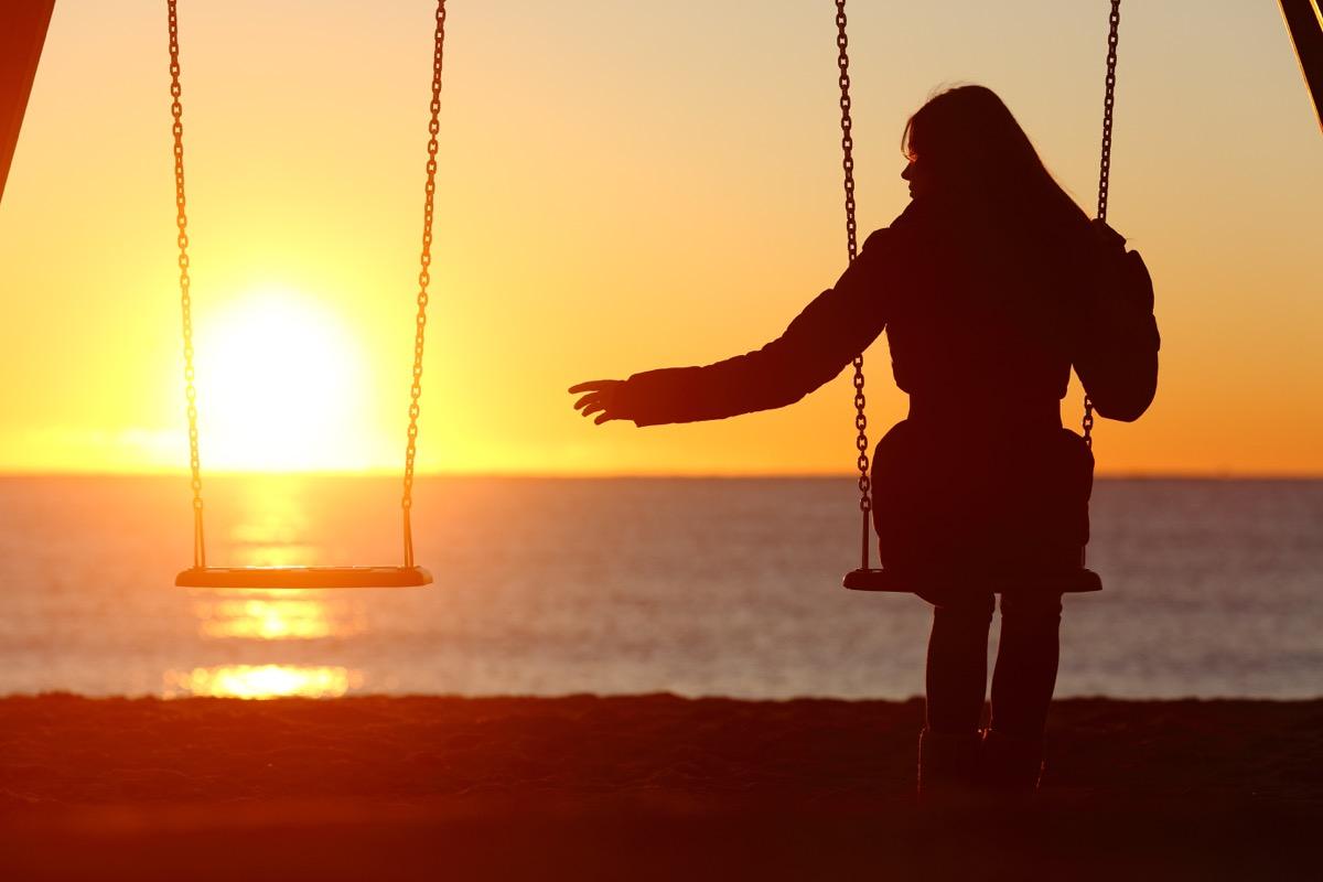 woman on the swings