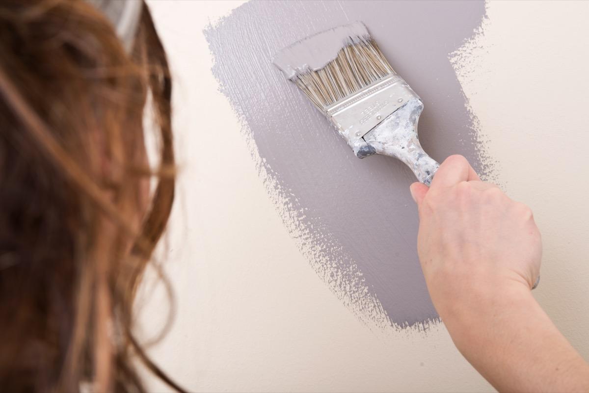 Woman painting the walls gray