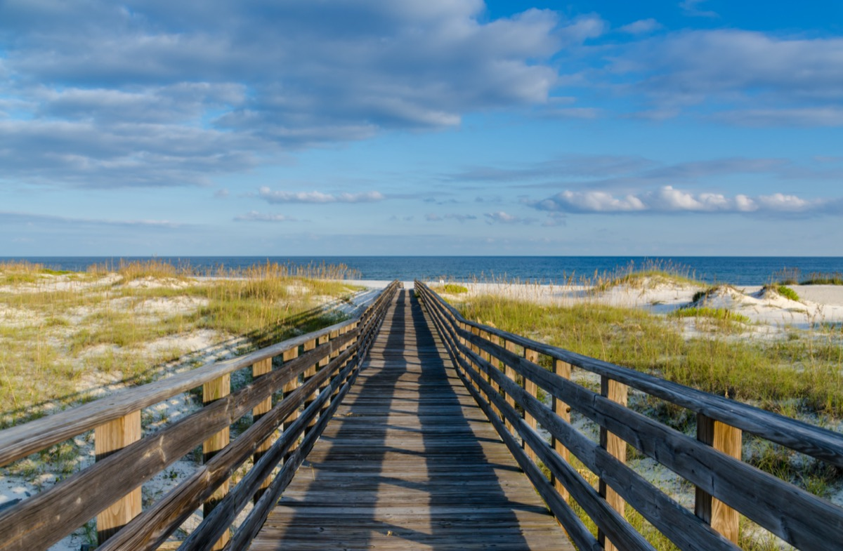 a wooden walkway to the Gulf of Mexico on the Alabama Gulf Coast