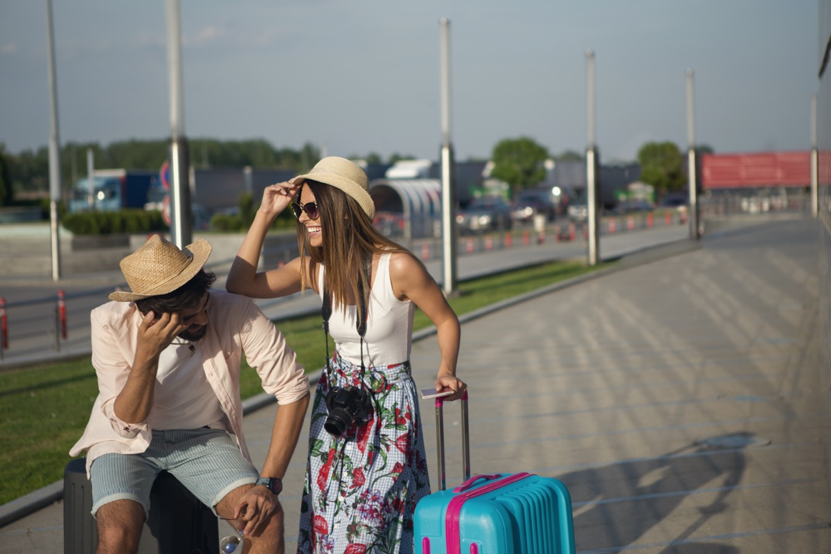 couple frustrated traveling