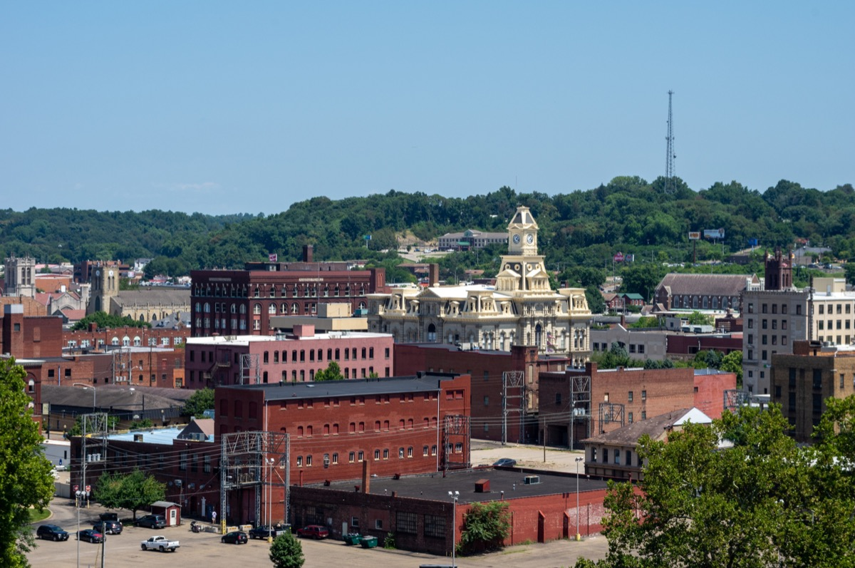high angle view of the city of Zanesville, Ohio.