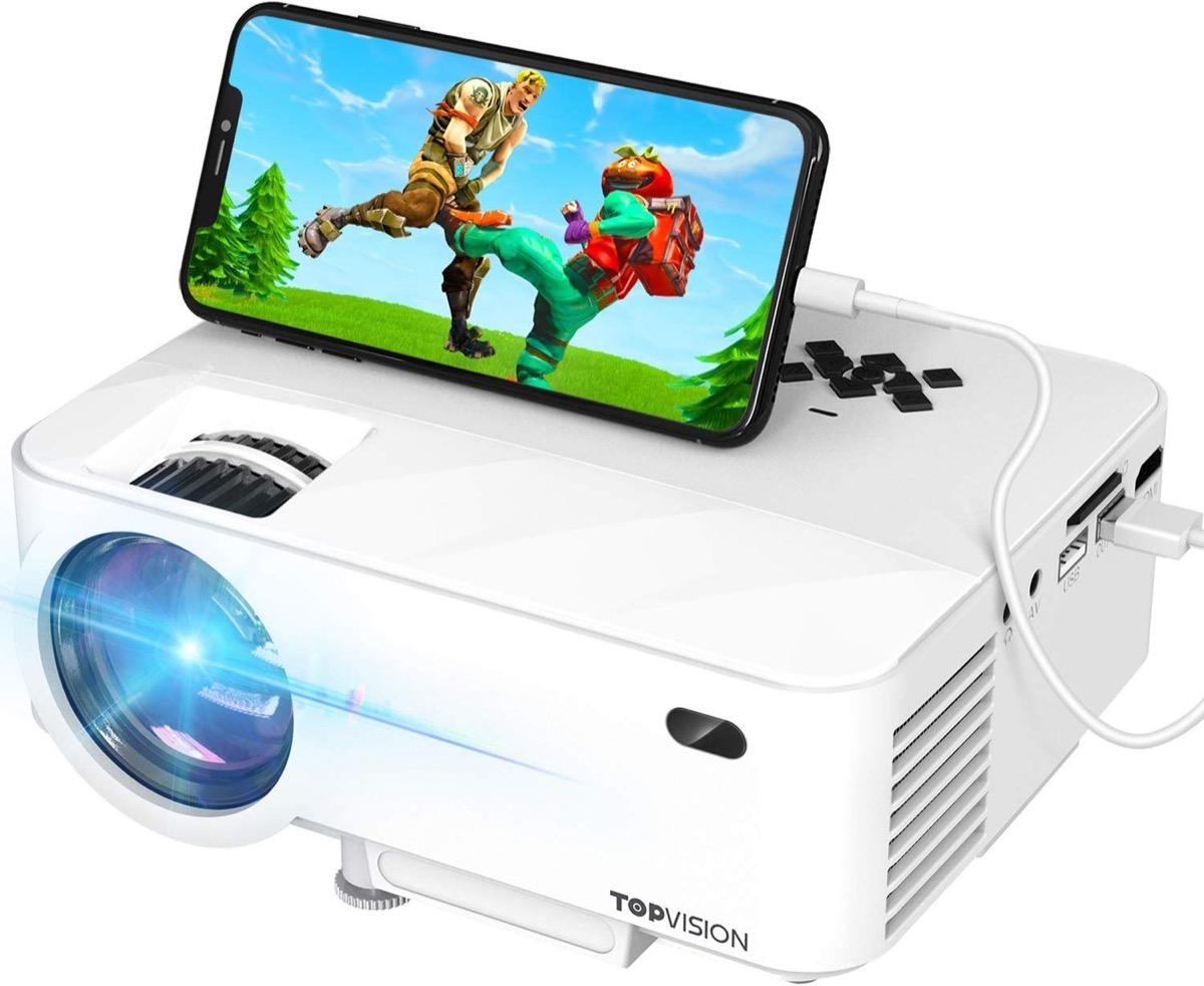white mini projector