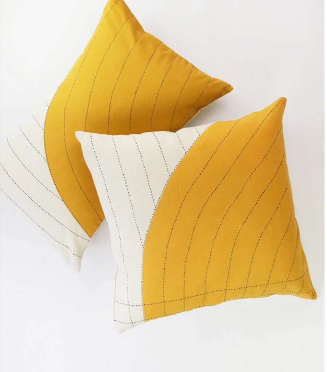 yellow and white pillows