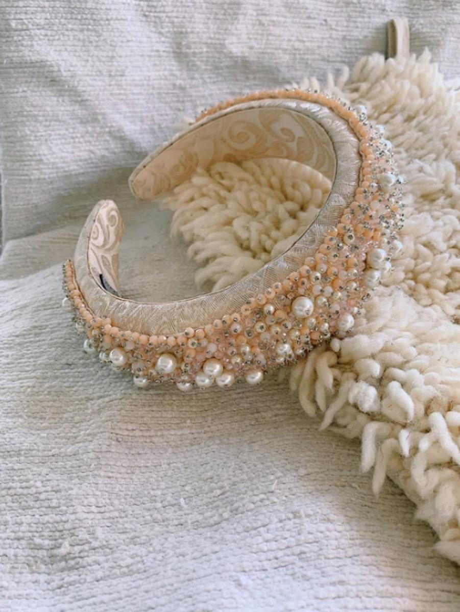 tan beaded headband