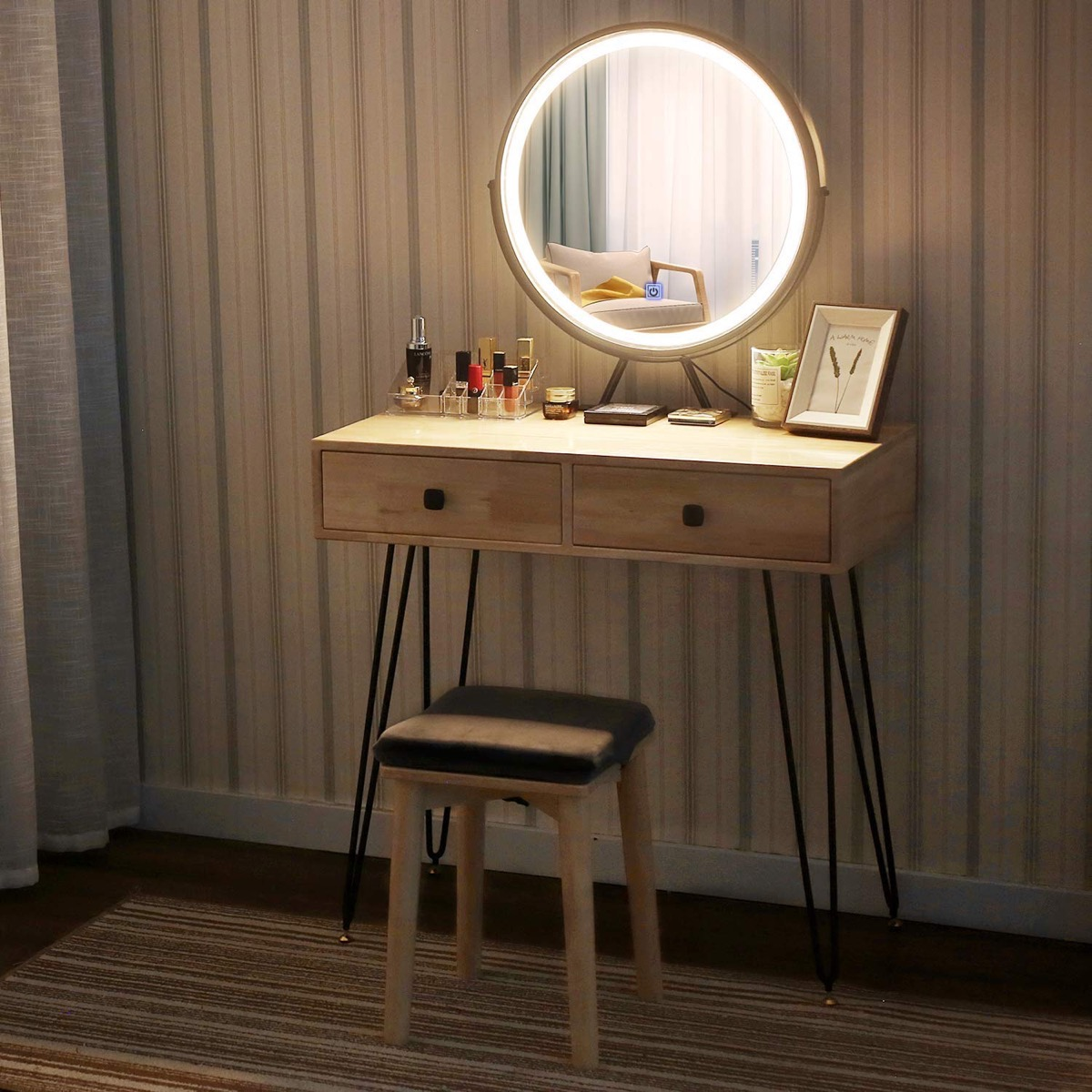 touchscreen mirror on wooden desk