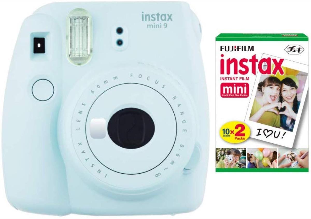blue fujifilm instax camera