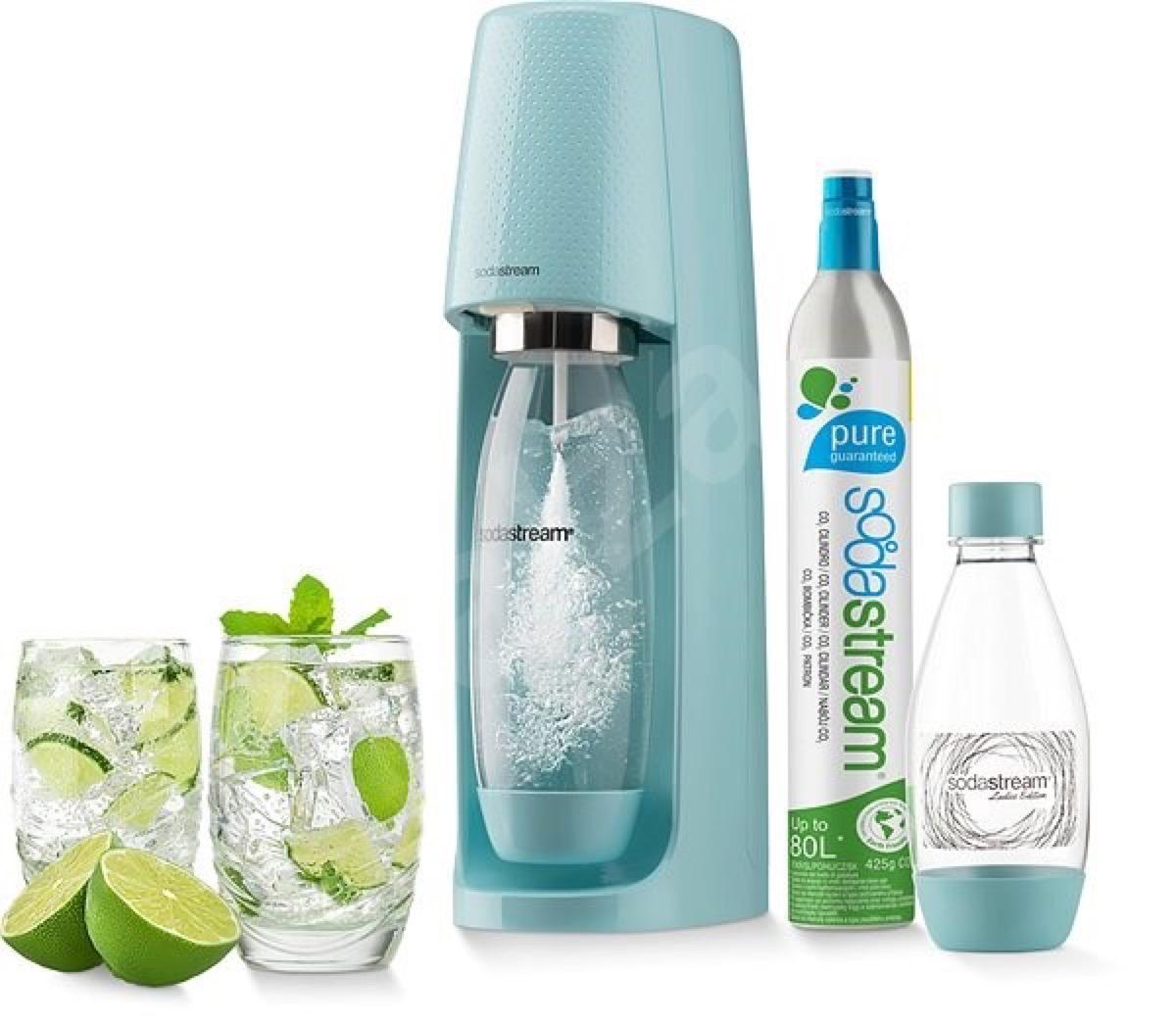 blue sodastream seltzer maker and bottles