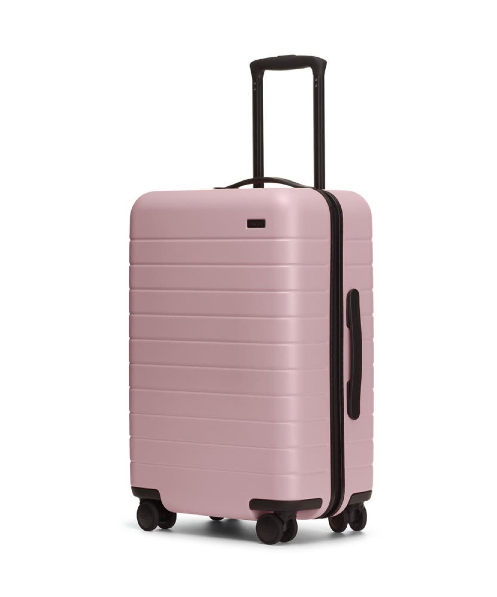 pink away hardsided suitcase