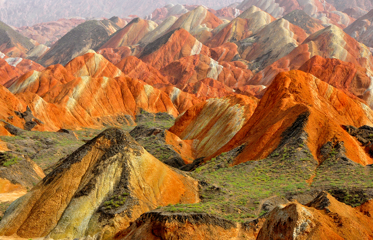 naturally rainbow colored mountains in China