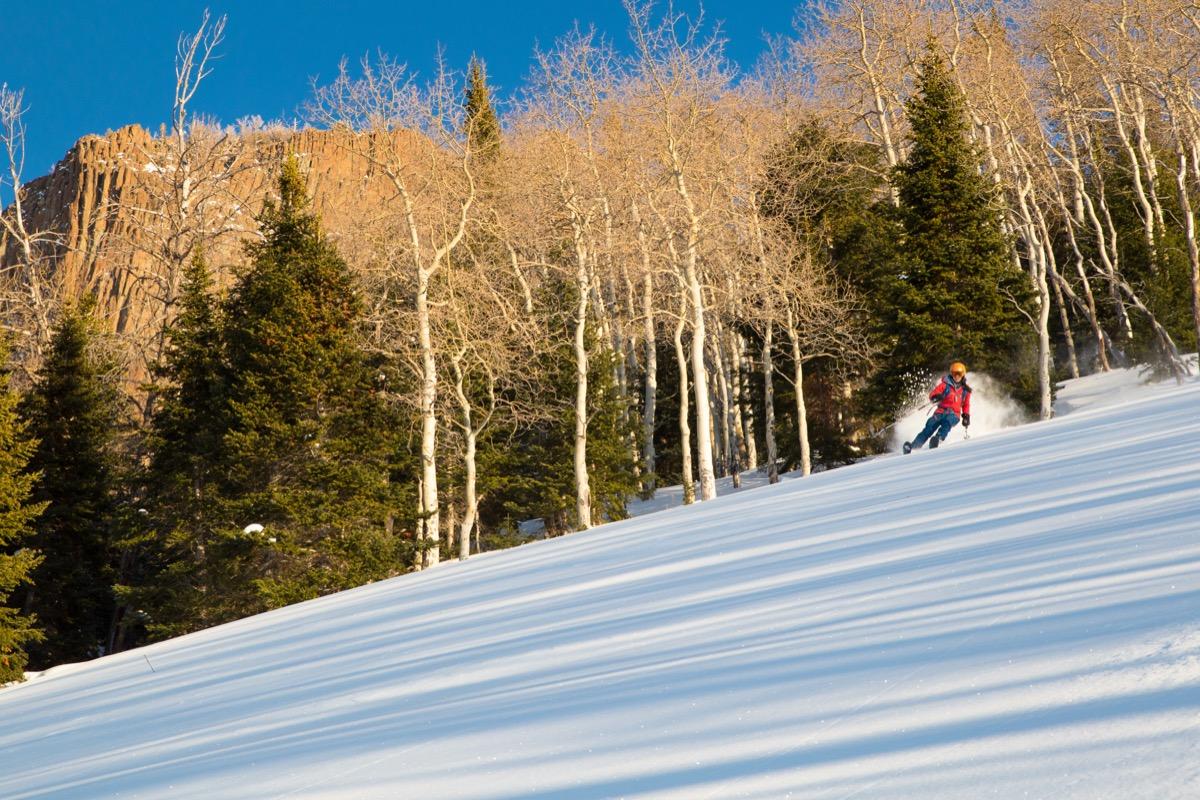 person skiing on colorado mountain