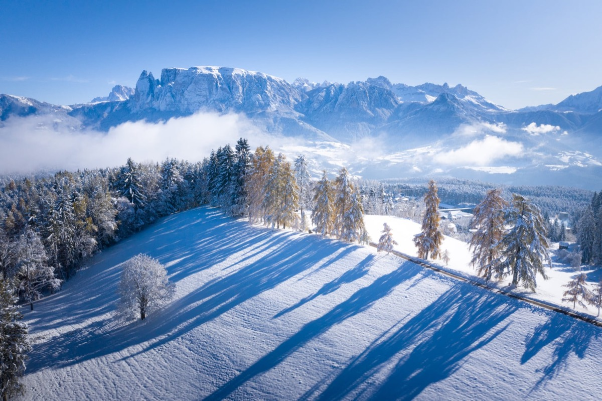 snowy mountains in italy's south tyrol province