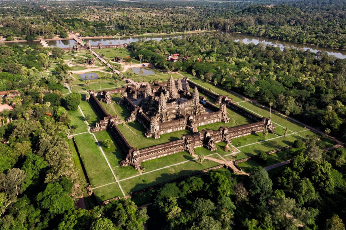 aerial view of angkor wat temple in Cambodia