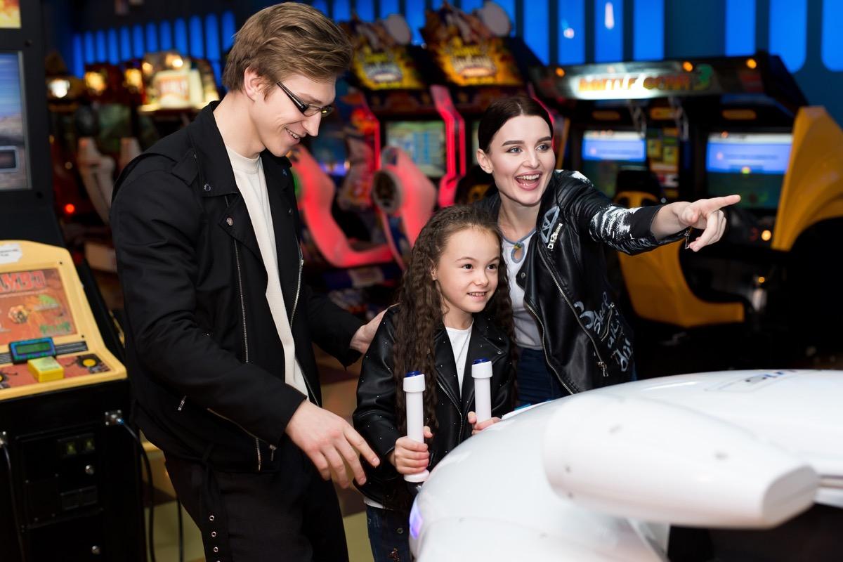 Family at an arcade