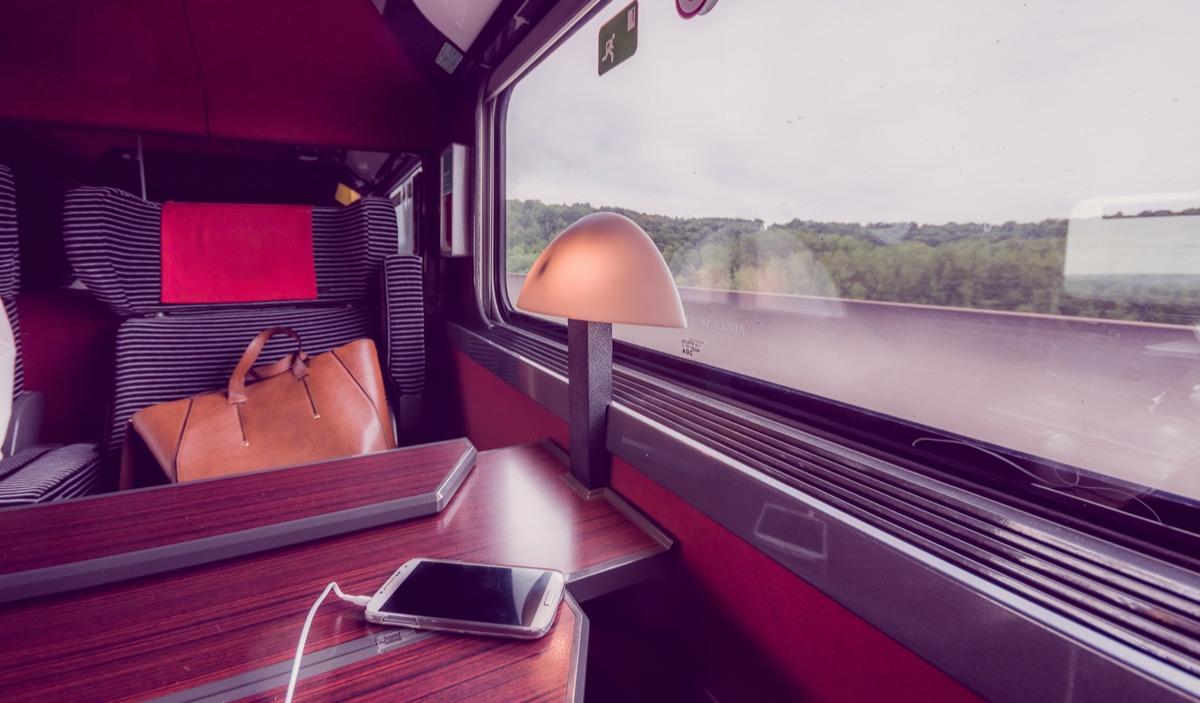 leather bag on seat on train