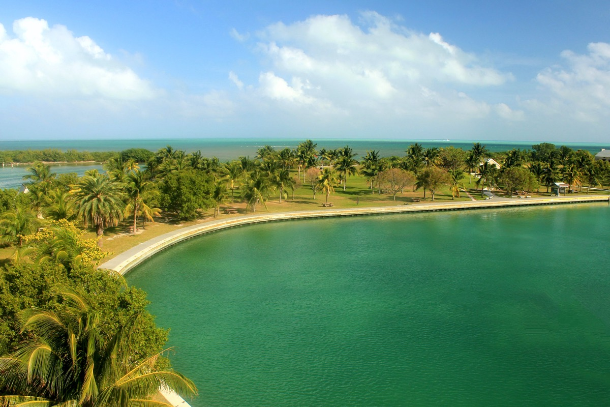 The shoreline and beach of Boca Chita in Biscayne National Park Florida