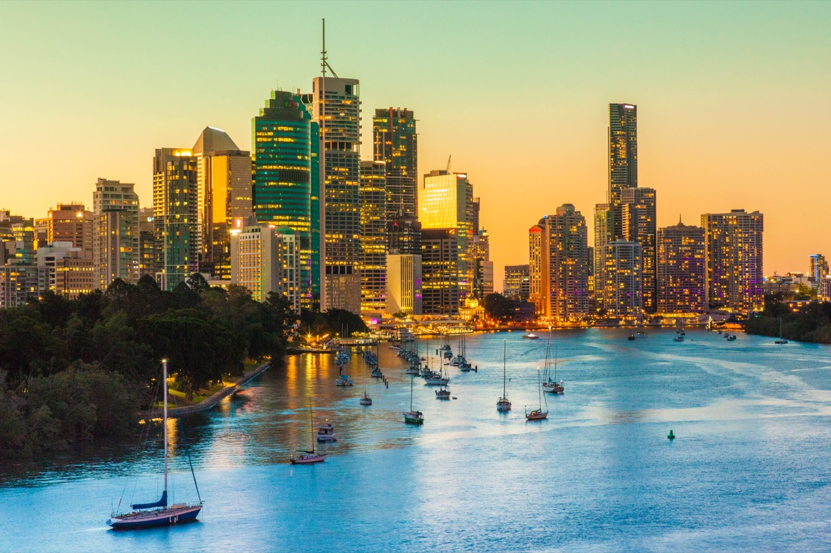 View of Brisbane City from Kangaroo Point as the Sun Sets.