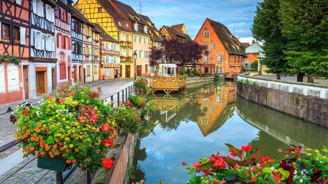 Spectacular colorful traditional french houses on the side of river Lauch in Petite Venise,Colmar,France,Europe