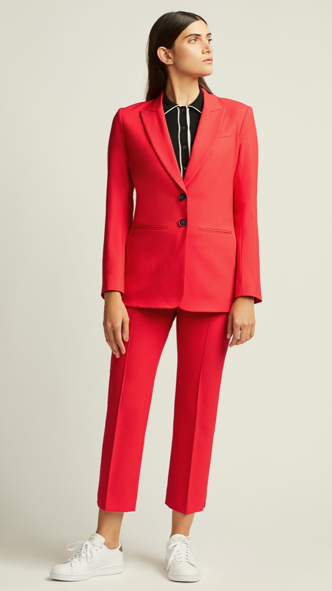 woman in red suit