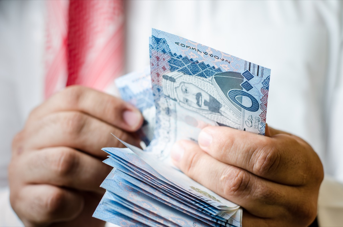 Counting money from Saudi Arabia Middle East
