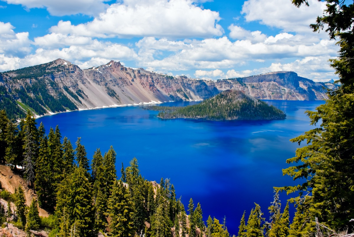 Crater lake national park on a summer day