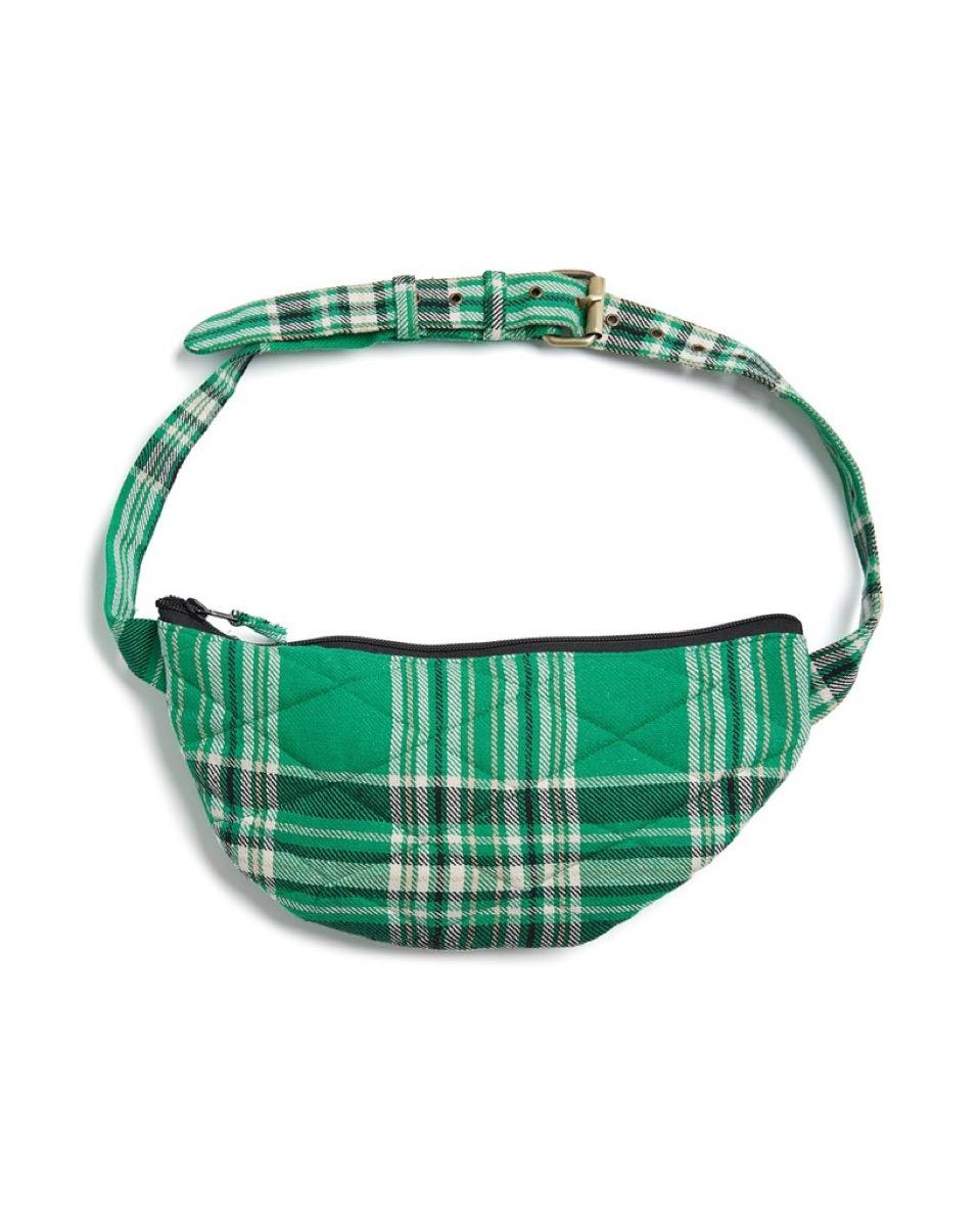 green plaid fanny pack