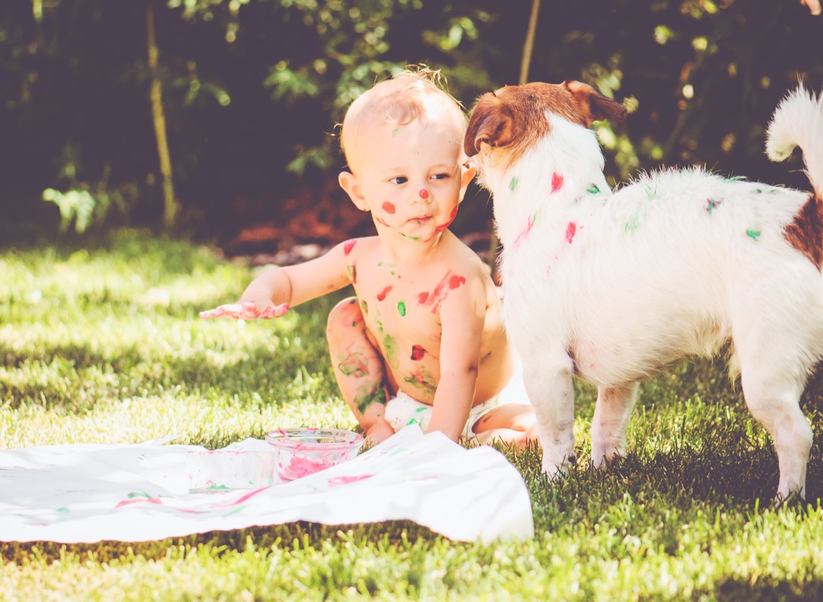 Baby and dog making a mess painting