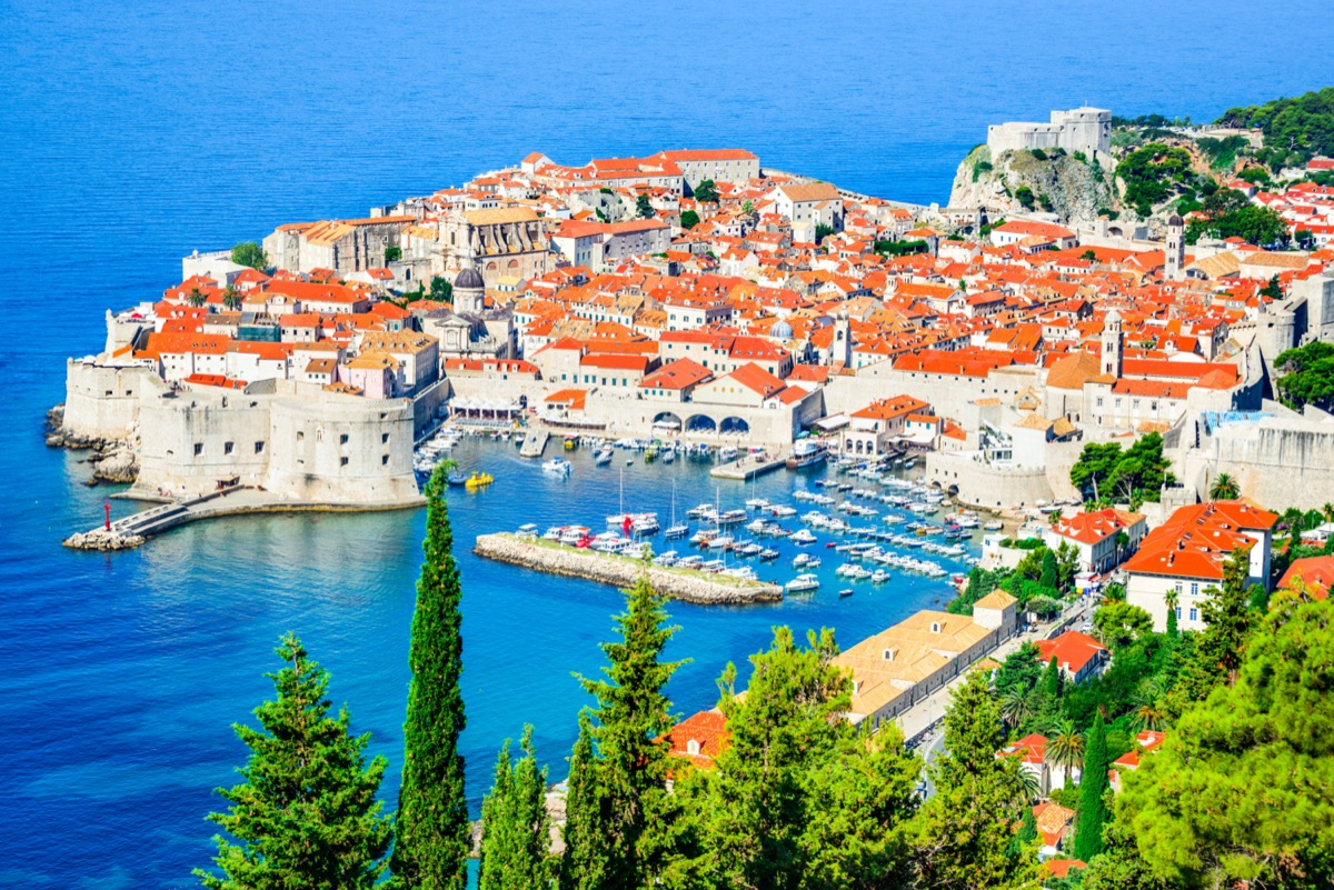 Picturesque view on the old town (medieval Ragusa) in dubrovnik