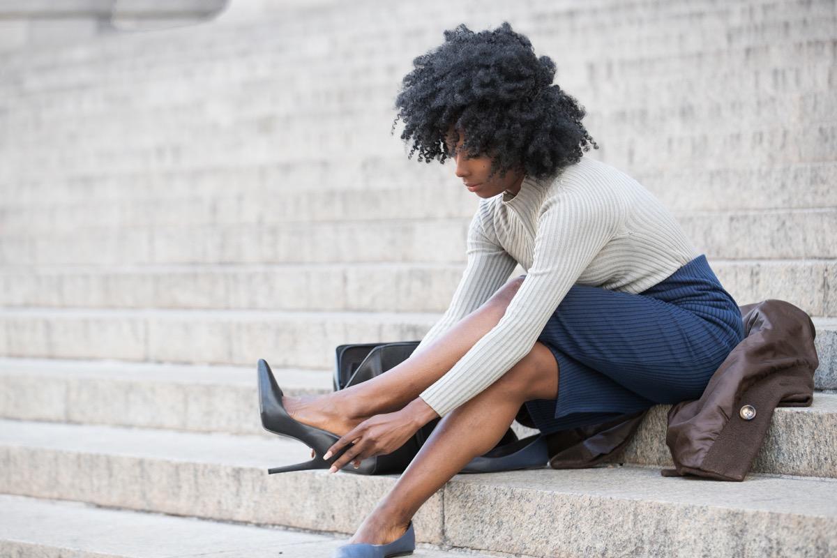 woman wearing heels on steps