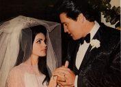 Elvis Presley and Priscilla Presley on their wedding day